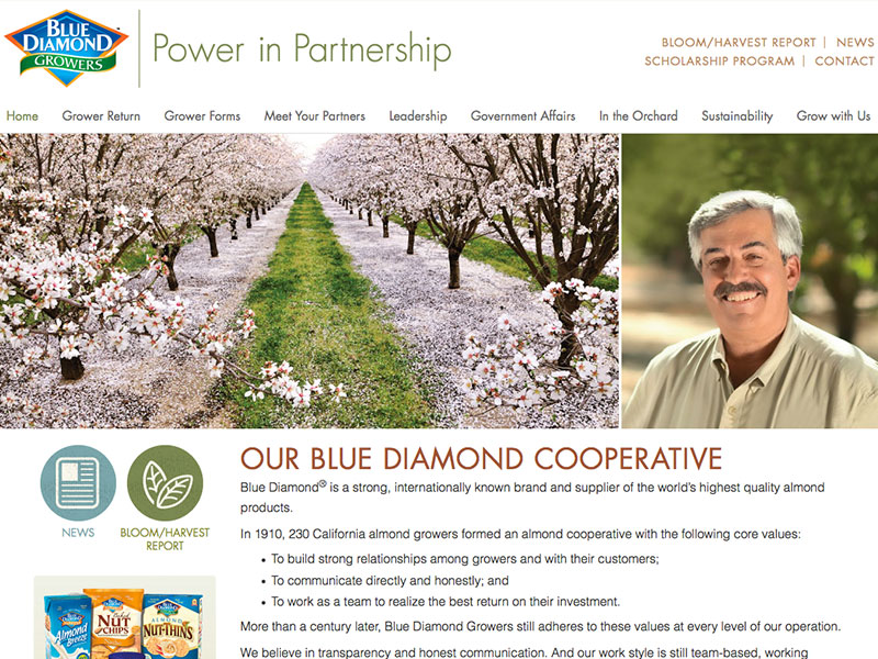 Blue Diamond Growers website