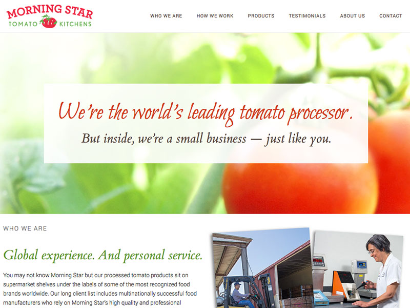 Morning Star Tomato Kitchens website