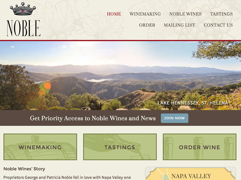 Noble Wines website