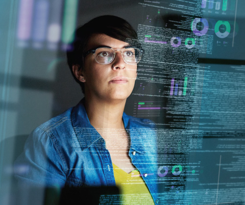 Woman observing data flow