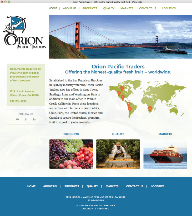 Orion Pacific Traders website