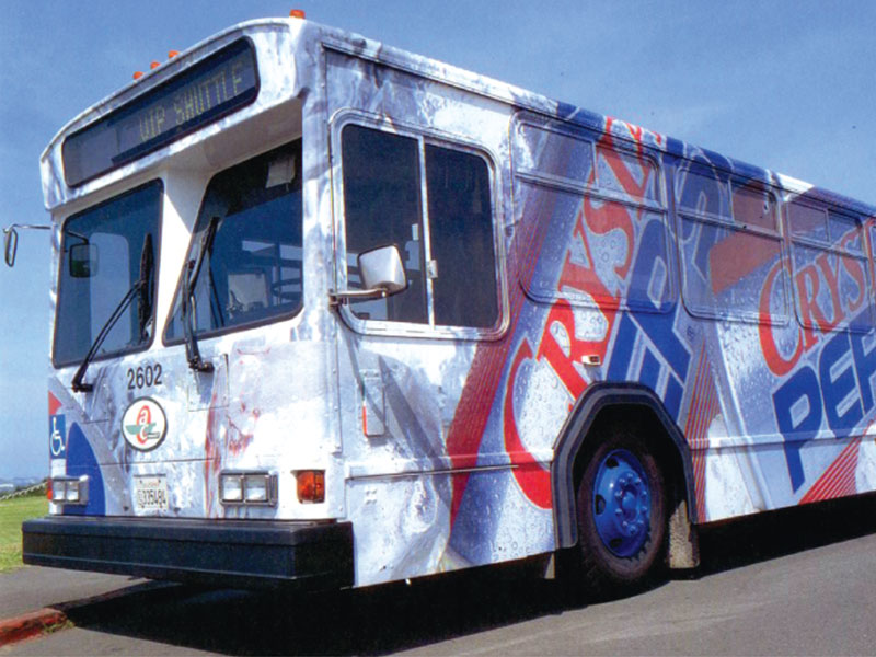 Crystal Pepsi bus wrap