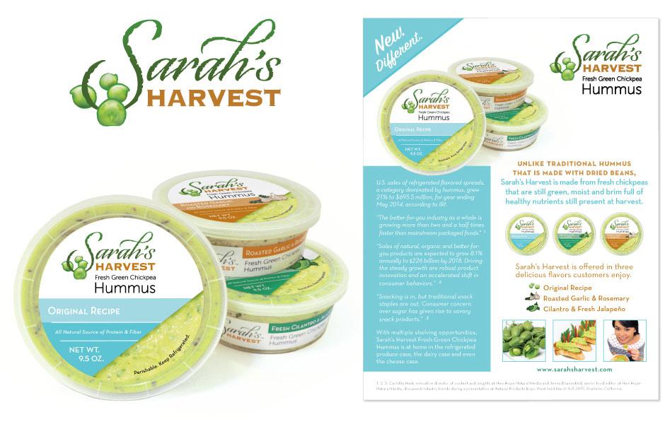 Sarah's Harvest hummus packaging