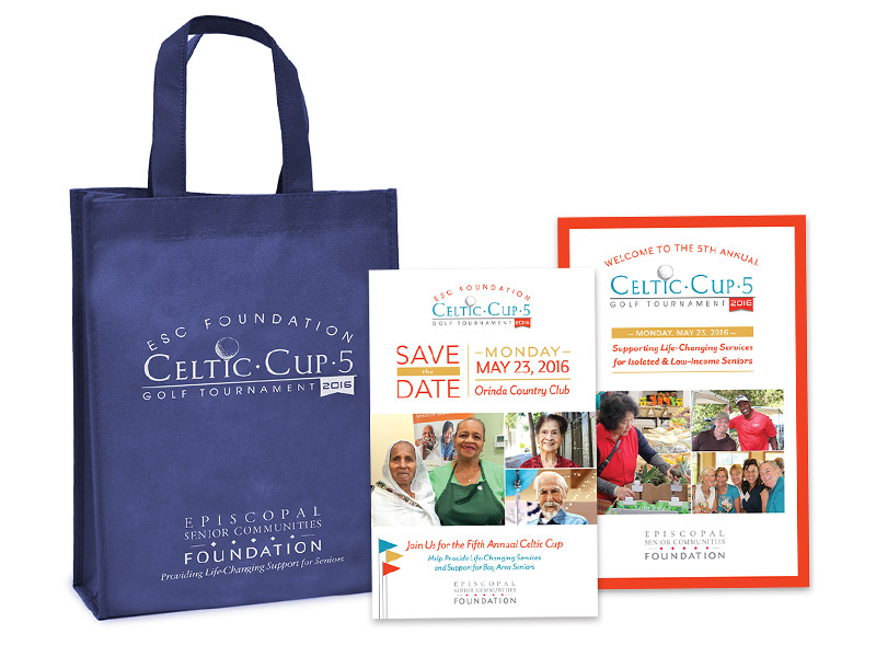 Celtic Cup fundraiser reusable bag, save the date, and program design.